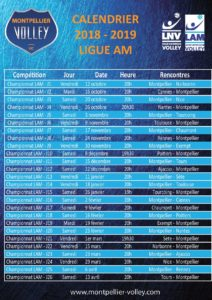 Calendrier Ligue AM 2018 - 2019 Montpellier Volley